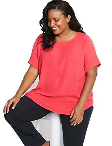 Ex Marks and Spencer Curve Plus Size Pink Round Neck Tunic Top Size 18-24