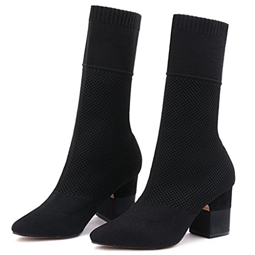 Scarpe da ginnastica alti in vitello da ginnastica al ginocchio da donna Stivali di calzini Stivaletti Martin stivali Stivali da ginocchio da stovepipe , black , 38 BLACK-36