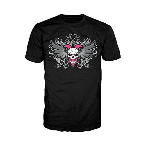 WWE Bret Hart Winged Skull Tattoo Logo Official Mens T-Shirt (Black)