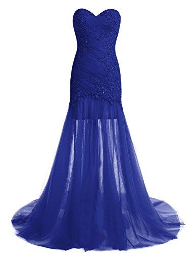 Dressystar Robe femme, Robe de bal longue, sans bretelle, aux appliques, en Satin Tulle Bleu Saphir