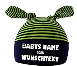 KLEINER FRATZ Baby 2-Zipfel Mütze (Farbe navy-lime) (Gr. 1 (KU: 35-42) (Gr. 56-74) mit Ihrem Wunschtext