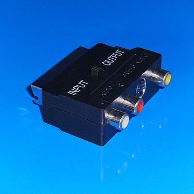 Audio Video Adapter mit Schalter / 1 Scart-Stecker auf 3 Cinch-Buchse 1 S-VHS Buchse / Schwarz