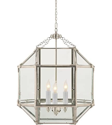 Saint Mossi® Vintage Classic Metal Pendant Chandelier Ceiling Light Fixture in Polished Nickel Finish with Vintage Glass Cage