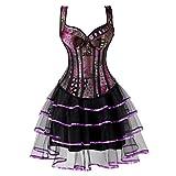 Corsage Corsage Kleid kurz Bustier Vollbrust mit Strapse träger Blumen Spitze übergröße sexy Fasching Damen Rock Lila 5XL
