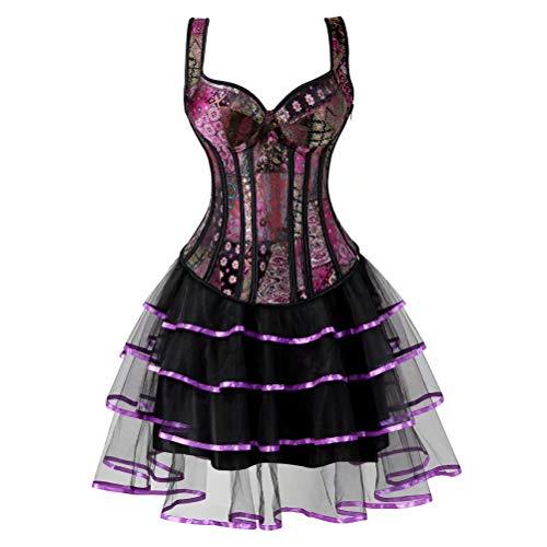 28 Kostüm Taille - Korsett Kleid Übergröße Masquerade Gothic Brokat Spitze Gothic Bustier Rock Set Kostüm - - Large(Für die Taille 28-29