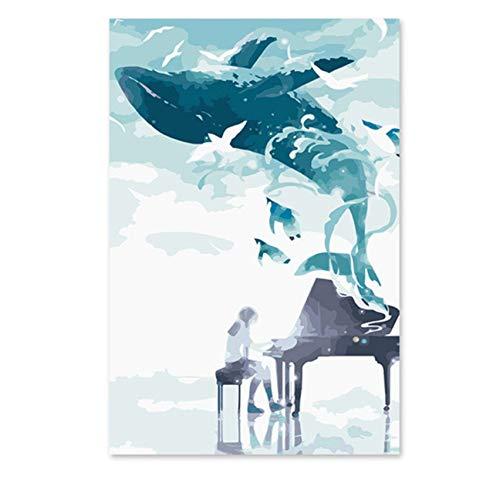 Diamant malerei kit 5d große wal aus Klavier Musik DIY Digitale Zeichnung Bild Wand-dekor Cartoon Bilder 50x40 cm -
