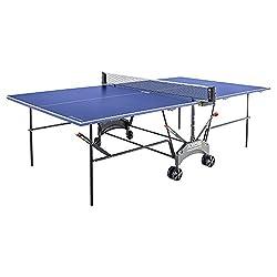 Kettler Tischtennisplatte AXOS Outdoor 1 - rollbarer TT-Tisch für draußen - wetterfeste Alu-Light-Verbundplatte - platzsparender Tischtennistisch für den Garten - blau/weiß