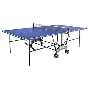 Kettler Tischtennisplatte AXOS Outdoor 1 – rollbarer TT-Tisch für draußen – wetterfeste Alu-Light-Verbundplatte – platzsparender Tischtennistisch für den Garten – blau/weiß