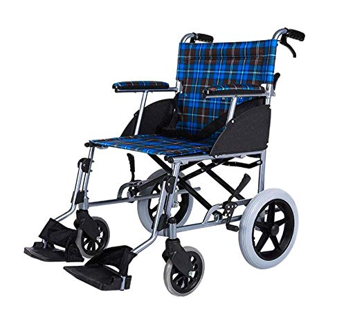 Leichter Rollstuhl Tragbar Zusammenklappbar Ergonomisch Fahren Medizinisch Bequeme Armlehne Anheben Beinstütze Leichtes Getriebe Blauer Rahmen, 16-Zoll-Sitz -