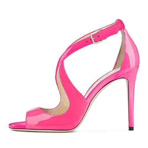 Damen Peep Toe Criss Cross Sandalen Glitzer Pailletten Stiletto High-Heels Lack Pink