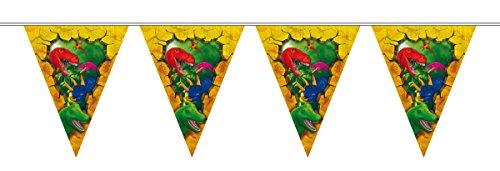 Wimpelkette * T-REX / DINOSAURIER * mit 15 Wimpel für Party und Geburtstag von FOLAT // 61857 //Kindergeburtstag Feier Fete Set Dinosaur Triceratops Dino Dinos Saurier Raubsaurier Deko Banner Girlande Partykette