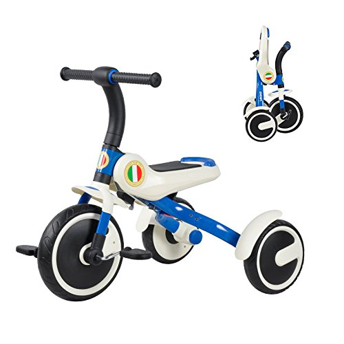 CAR- Children's Scooter Kinder Dreirad EIN-klick Falten Leichte Fahrrad Kinder Fahrrad 5~6 Alte Falten Kleinkind,Blue (Falten Kleinkind Fahrrad)