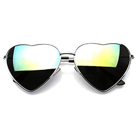 Emblem Eyewear - Stylish Metal Frame Sunglasses Women Love Heart Shape Eyewear Eyeglasses (Silver Green Ice)