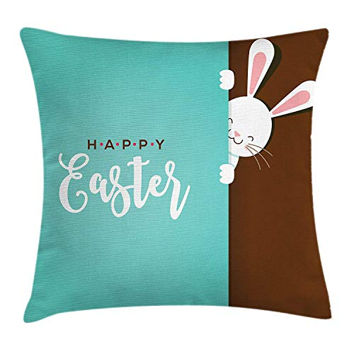 Jolly2T Rabbit Throw Pillow Cushion Cover, Happy Easter Bunny Looking from The Edge of Blue Background Peekaboo Animal, Decorative Square Accent Pillow Case, 18 X 18 inches, Seafoam Bronze Edge-zip Fleece