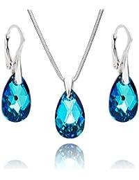 LillyMarie Conjunto de joyas para mujer plata de ley 925, con Elementos Swarovski azul, colgante con gota, con caja de joyas