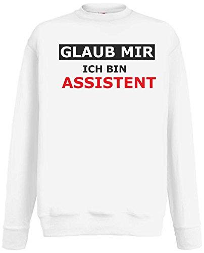 Damen Sexy Assistenten (Black Dragon Sweatshirt/Funshirt - Fasching - Party - Büro - Firma - Auch für Kalte Tage - Weiß XL - Beruf - Spruch - Glaub Mir Ich Bin ASSISTENT)