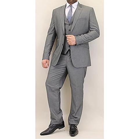 Hommes Mélange Laine Tweed Blazers Gilets Pantalon 3 Pièces Pour By Cavani - Gris - VERONA, Chest 38