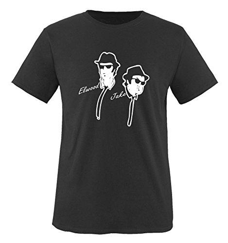 BLUES BROTHER - ELWOOD & JAKE - Herren Unisex T-Shirt Gr. S bis XXL Diverse Farben Schwarz / Weiss