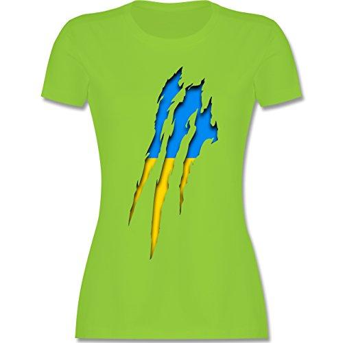 Shirtracer Länder - Ukraine Krallenspuren - Damen T-Shirt Rundhals Hellgrün