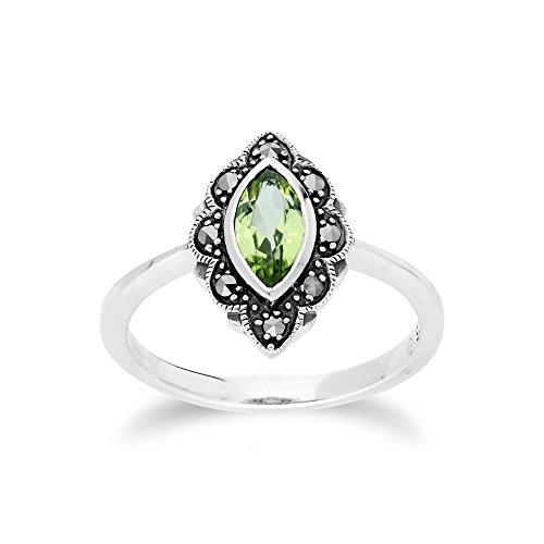 Gemondo Peridot-Ring, Sterlingsilber Peridot & Markasit Jugendstil Ring