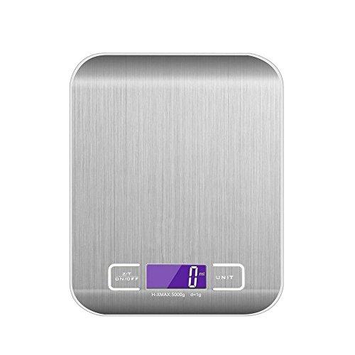 ZCPlus Digitale Küchenwaage, Multifunktions Elektronische Lebensmittel Waage, 5 kg Maximalgewicht/1g Genauigkeit Edelstahl Professionel Waage mit LCD Anzeige (Batterien Enthalten, Silber)