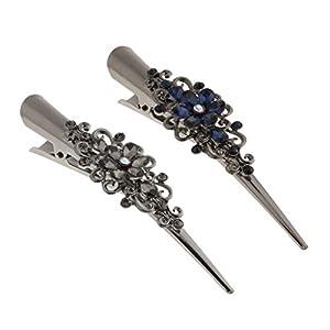 2pcs Strass Blumen Krokodil Alligator Haarspange Barrette Haarklammern Haarspangen Haar Pin