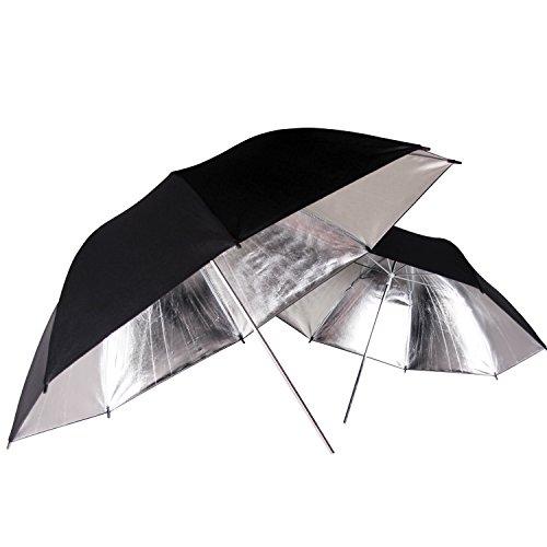 POLAM-FOTO 84cm Durchlichtschirm/Studioschirme Professionelle Reflektor-Schirm-Studiobeleuchtung Schwarz/Silber Regenschirm (2 pack)