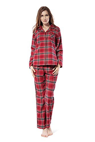 Frauen-Baumwolle Plaid Pyjama Set Langarm Knopf nach unten Flanell Lounge Nachtwäsche (Rot, XL) (Plaid Rot Lounge)