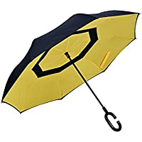 KHSKX Libero creativo doppia inversa lungo ombrello per uomini e donne, pioggia ombra duplice uso, robusto e portatile , blue