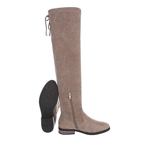 Scarpe da donna Stivali tacco a blocco Overknees Ital-Design bronzage
