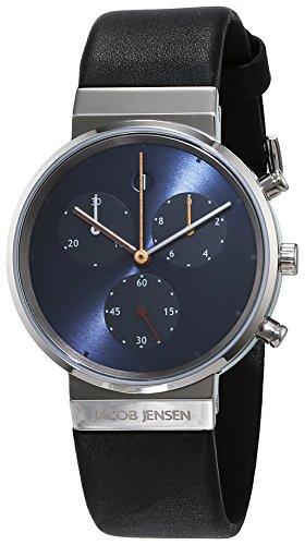 Jacob Jensen Damen Chronograph Quarz Uhr mit Leder Armband 615