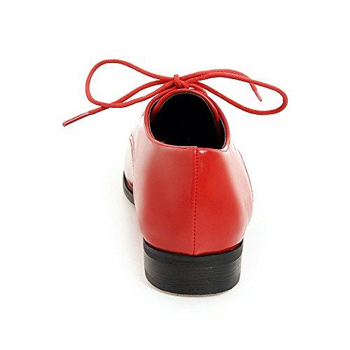 VogueZone009 Donna Allacciare Punta Tonda Tacco Basso Luccichio Puro Ballet-Flats Rosso