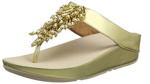 Fitflop Damen Treasure Mambo Toe Post Sandalen, Gold (Artisan Gold 667), 41 EU Metallic Thong Sandal