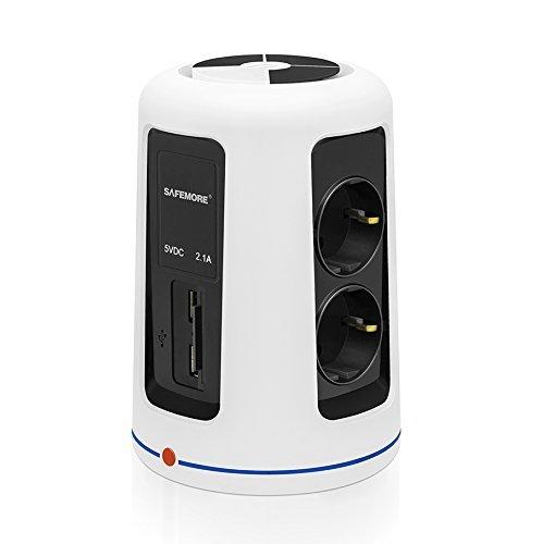 SAFEMORE Multiprise, 6 Prises et Paupi¨¨res 2 ports USB(5V/2.1A) amovible Quick Charger Mural avec Parasurtenseur Power Cord Chargeur Power Socket,Blanc+ Noir