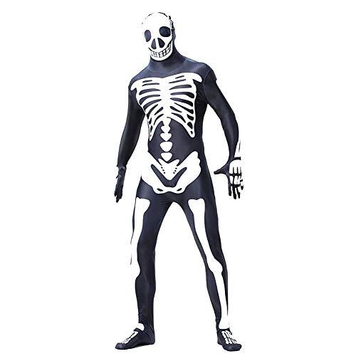 Satanist Kostüm - KTENME Halloween-Kleidung, Skelett Geist, Festival, A1 Gr. a3, Xl