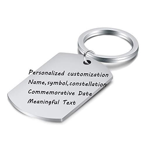 VQYSKO Llaveros Personalizados Acero Inoxidable Letras Laser Texto Personalizado Chapa de Identificación Tipo Militar Regalo con Caja (A-Argénteo)