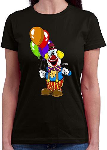 HARIZ  Damen T-Shirt Rundhals Clown Luftballons Fröhlich Karneval Kostüm Inkl. Geschenk Karte Schwarz ()