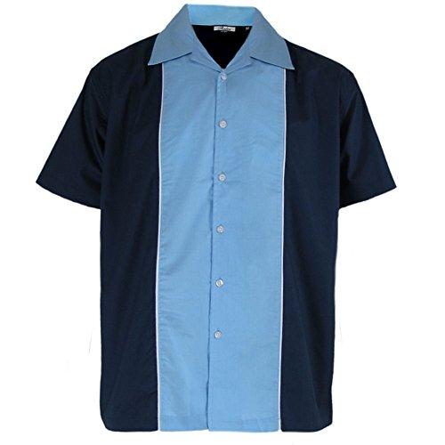 Relco - Herren Hemd kurzÄrmelig - Retro/Bowling-Stil - Blau/Himmel - M (Bowling Shirt Retro)