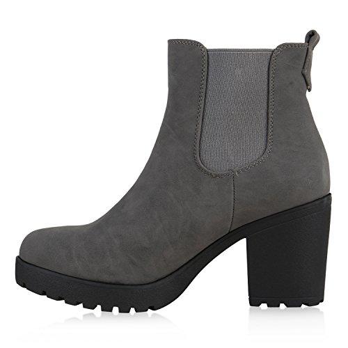 Damen Chelsea Boots Blockabsatz Stiefeletten Schuhe Grau Grau Schwarz