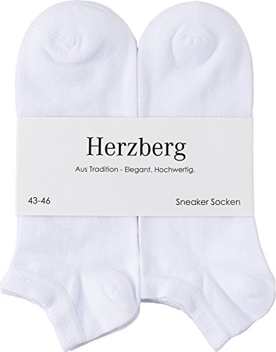 Herzberg Sneaker Socken für Damen/Herren, 6 Paar, weiß, Größe 43-46