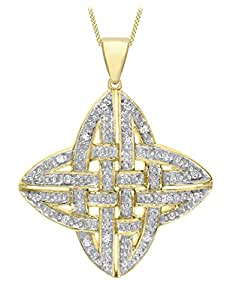 Carissima Gold 9 ct Yellow Gold with 0.10 ct Diamond Celtic Cross Pendant on Curb Chain Necklace of Length 46 cm/18 inch