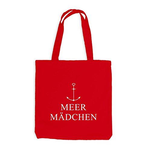 Jutebeutel - Meer Mädchen Anker - Maritim Style Causual Rot