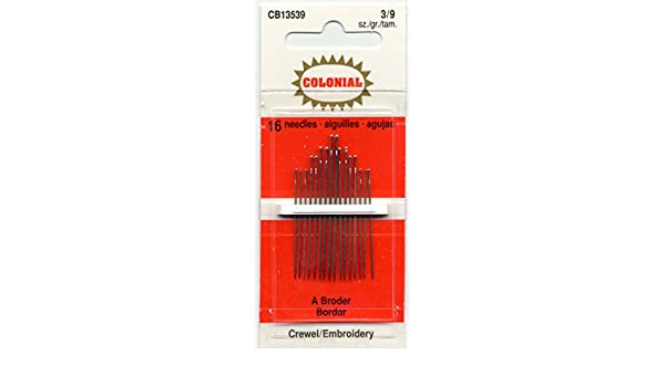 Colonial Needle CB135-3-9 16 Count Embroidery Needles Size 3//9