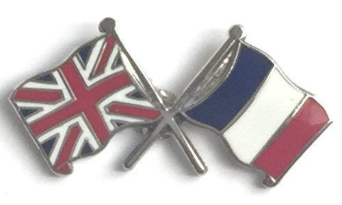 United Kingdom Union Jack and France French Friendship Flag Pin Badge