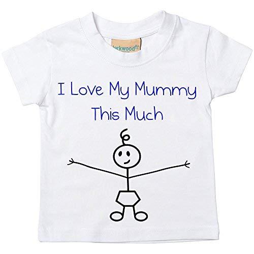 Garçons I Love My Mummy This Much T-shirt Bébé Tout-petit Enfants disponible en tailles 0-6 Mois pour 14-15 Ans Bâton De Fils Personne - Blanc, 14-15 ans