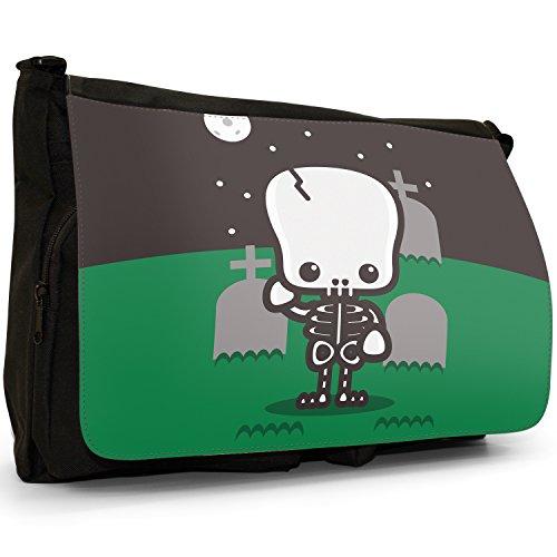 Kawaii Cute Baby Monsters–Borsa Tracolla Tela Nera Grande Scuola/Borsa Per Laptop Skeleton Graveyard Full Moon