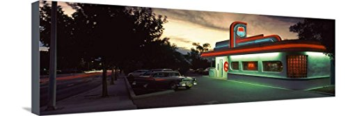Restaurant Lit Up at Dusk, Route 66, Albuquerque, Bernalillo County, New Mexico, USA Bedruckte aufgespannte Leinwand von Panoramic Images - 30x91 cm