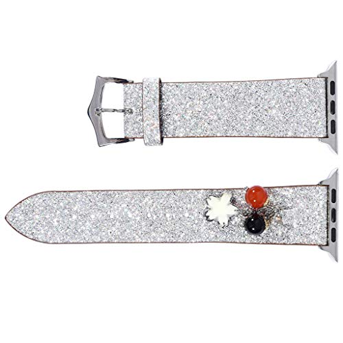 Dkings Kompatibel für Apple Watch Band 42 / 44MM, Glitzer-PU-Leder mit echtem Leder-Bling-Armband Glänzendes Armband Kompatibel für Apple Watch Serie 4/3/2/1, Iwatch, für Mädchen und Damen (Silver) -