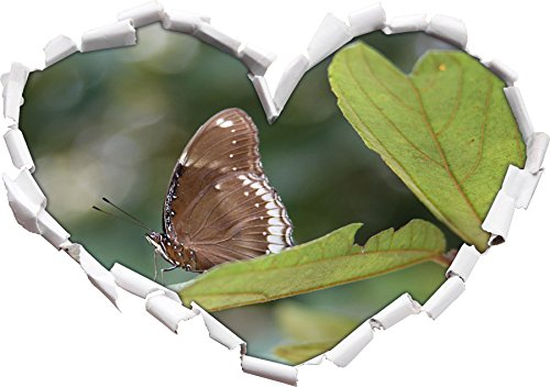piccola forma di cuore farfalla marrone nel formato adesivo aspetto,