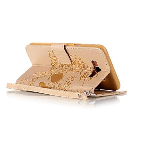 Custodia Samsung Galaxy J7 2016, ISAKEN Samsung Galaxy J7 Cover con Strap, Elegante borsa Dente di leone Design in Pelle Sintetica Ecopelle PU Case Cover Protettiva Flip Portafoglio Case Cover Protezi cranio:oro